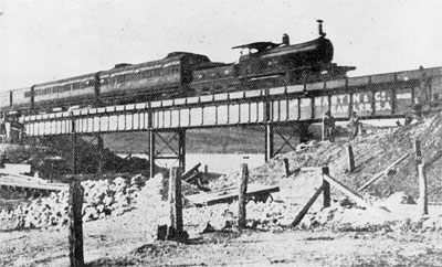 The first train to cross over the Burra Creek bridge, 30 March 1909