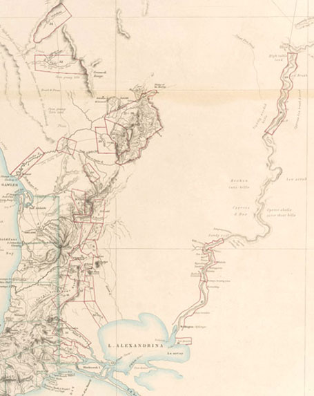 Part of the 1841 Arrowsmith Map showing Special Surveys